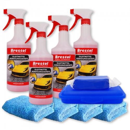 REINIGUNGSKNETE SET3 blau - inkl. Gleitmittel und Poliertuch - Lack-Knete - Clay Bar