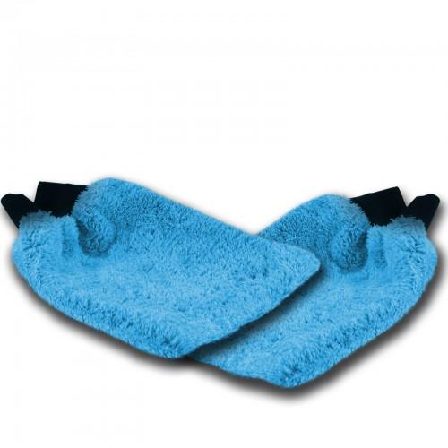 WASCHHANDSCHUH blau 2er Set - Mikrofaser mit Gummibund