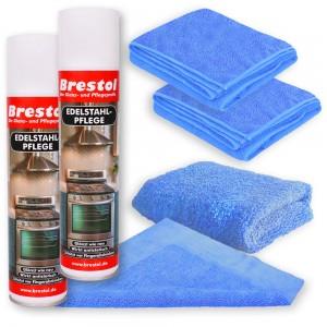 Edelstahlpflege Spray 400 ml Tücher Set02