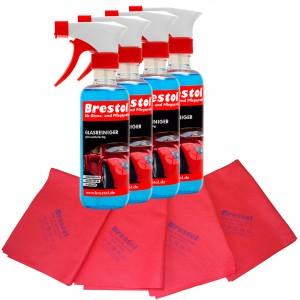 GLASREINIGER gebrauchsfertig Set2 - 4x 300 ml + 4x Glas- & Spiegeltuch non woven rot