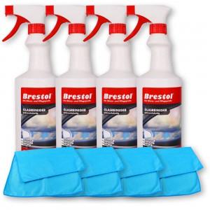 GLASREINIGER gebrauchsfertig 4x 750 ml + 4x Glas- & Geschirrtuch blau