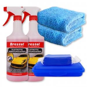 REINIGUNGSKNETE SET2 blau - inkl. Gleitmittel und Poliertuch - Lack-Knete - Clay Bar