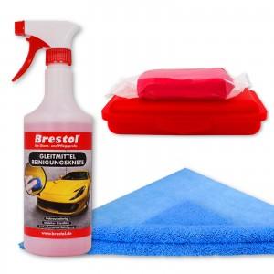 REINIGUNGSKNETE SET4 rot - inkl. Gleitmittel und Poliertuch - Lack-Knete - Clay Bar