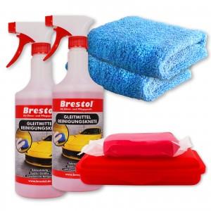 REINIGUNGSKNETE SET5 rot - inkl. Gleitmittel und Poliertuch - Lack-Knete - Clay Bar