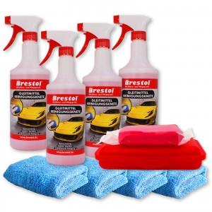 REINIGUNGSKNETE SET6 rot - inkl. Gleitmittel und Poliertuch - Lack-Knete - Clay Bar