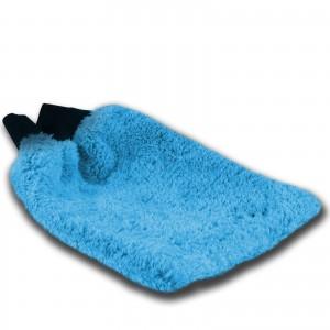 WASCHHANDSCHUH blau - Mikrofaser mit Gummibund